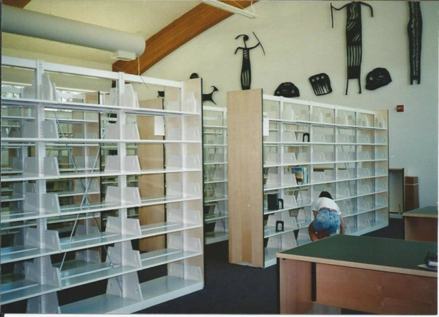 New library empty shelves