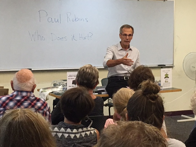 "Author Phil Robins discussing his new novel, ""Who Does It Hurt?"""